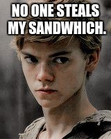 Newt | NO ONE STEALS MY SANDWHICH. | image tagged in newt | made w/ Imgflip meme maker
