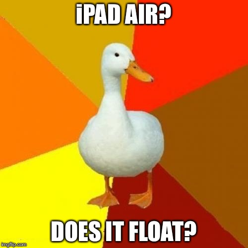 Tech Impaired Duck | iPAD AIR? DOES IT FLOAT? | image tagged in memes,tech impaired duck | made w/ Imgflip meme maker