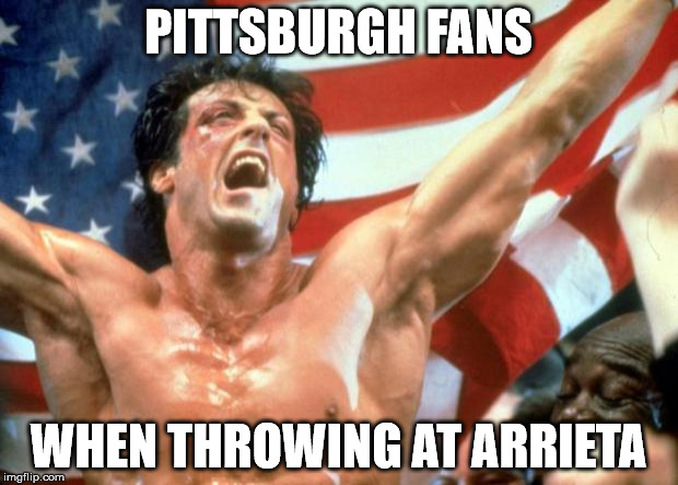 Rocky Victory | PITTSBURGH FANS WHEN THROWING AT ARRIETA | image tagged in rocky victory | made w/ Imgflip meme maker