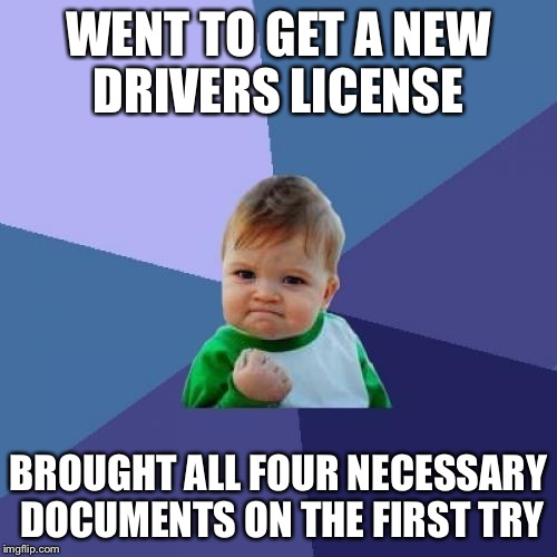 Success Kid Meme | WENT TO GET A NEW DRIVERS LICENSE BROUGHT ALL FOUR NECESSARY DOCUMENTS ON THE FIRST TRY | image tagged in memes,success kid,AdviceAnimals | made w/ Imgflip meme maker