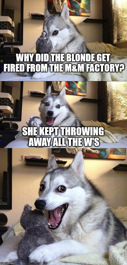 Bad Pun Dog | WHY DID THE BLONDE GET FIRED FROM THE M&M FACTORY? SHE KEPT THROWING AWAY ALL THE W'S | image tagged in memes,bad pun dog,funny,blondes,blonde | made w/ Imgflip meme maker