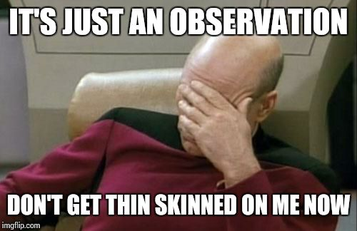 Captain Picard Facepalm Meme | IT'S JUST AN OBSERVATION DON'T GET THIN SKINNED ON ME NOW | image tagged in memes,captain picard facepalm | made w/ Imgflip meme maker