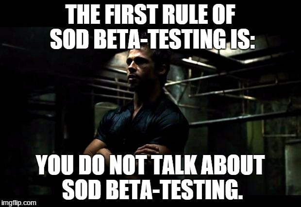 fight club | THE FIRST RULE OF SOD BETA-TESTING IS: YOU DO NOT TALK ABOUT SOD BETA-TESTING. | image tagged in fight club,memes | made w/ Imgflip meme maker