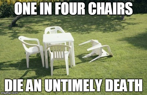 Chair Statistics | ONE IN FOUR CHAIRS DIE AN UNTIMELY DEATH | image tagged in memes,we will rebuild | made w/ Imgflip meme maker