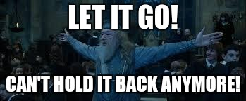 Harry Potter | LET IT GO! CAN'T HOLD IT BACK ANYMORE! | image tagged in harry potter | made w/ Imgflip meme maker