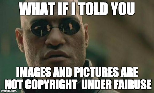 Matrix Morpheus Meme | WHAT IF I TOLD YOU IMAGES AND PICTURES ARE NOT COPYRIGHT  UNDER FAIRUSE | image tagged in memes,matrix morpheus | made w/ Imgflip meme maker