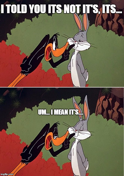 Daffy Duck shuts up | I TOLD YOU ITS NOT IT'S, ITS... UM... I MEAN IT'S.... | image tagged in daffy duck shuts up | made w/ Imgflip meme maker