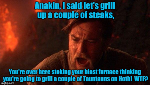 Steak Night............. | Anakin, I said let's grill up a couple of steaks, You're over here stoking your blast furnace thinking you're going to grill a couple of Tau | image tagged in you were the chosen one star wars | made w/ Imgflip meme maker