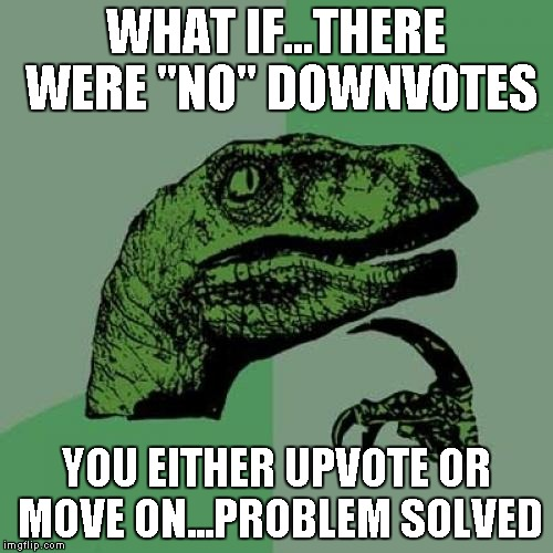 "Philosoraptor Meme | WHAT IF...THERE WERE ""NO"" DOWNVOTES YOU EITHER UPVOTE OR MOVE ON...PROBLEM SOLVED 