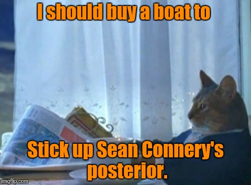 I Should Buy A Boat Cat Meme | I should buy a boat to Stick up Sean Connery's posterior. | image tagged in memes,i should buy a boat cat | made w/ Imgflip meme maker