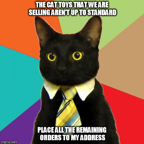 Business Cat | THE CAT TOYS THAT WE ARE SELLING AREN'T UP TO STANDARD PLACE ALL THE REMAINING ORDERS TO MY ADDRESS | image tagged in memes,business cat | made w/ Imgflip meme maker