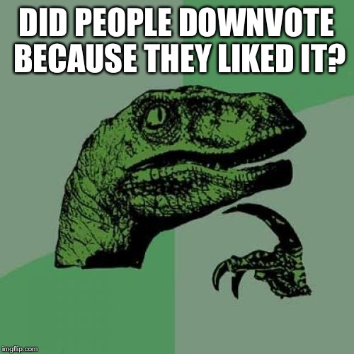 Philosoraptor Meme | DID PEOPLE DOWNVOTE BECAUSE THEY LIKED IT? | image tagged in memes,philosoraptor | made w/ Imgflip meme maker