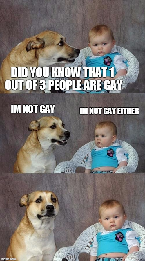 Dad Joke Dog Meme | DID YOU KNOW THAT 1 OUT OF 3 PEOPLE ARE GAY IM NOT GAY IM NOT GAY EITHER | image tagged in memes,dad joke dog | made w/ Imgflip meme maker