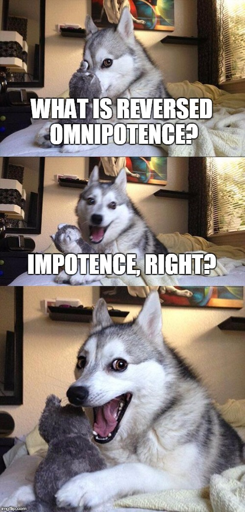 Omnipotent Bad Pun Dog | WHAT IS REVERSED OMNIPOTENCE? IMPOTENCE, RIGHT? | image tagged in memes,bad pun dog,omnipotence,impotence,comic | made w/ Imgflip meme maker