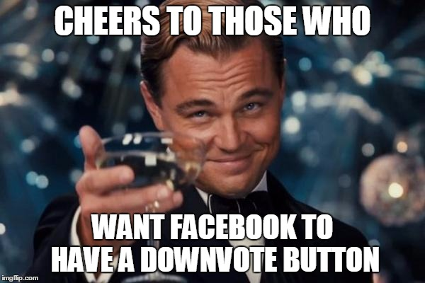 People will be butthurt on a Galactic Scale if this happens | CHEERS TO THOSE WHO WANT FACEBOOK TO HAVE A DOWNVOTE BUTTON | image tagged in memes,leonardo dicaprio cheers | made w/ Imgflip meme maker