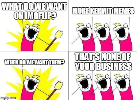 What Do We Want Meme | WHAT DO WE WANT ON IMGFLIP? MORE KERMIT MEMES WHEN DO WE WANT THEM? THAT'S NONE OF YOUR BUSINESS | image tagged in memes,what do we want | made w/ Imgflip meme maker