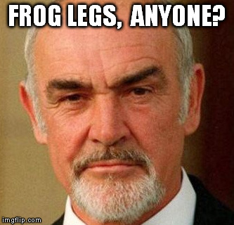 connery | FROG LEGS,  ANYONE? | image tagged in connery | made w/ Imgflip meme maker