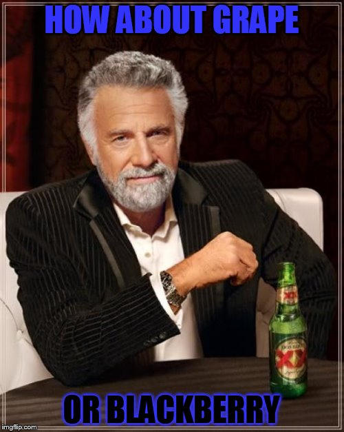 The Most Interesting Man In The World Meme | HOW ABOUT GRAPE OR BLACKBERRY | image tagged in memes,the most interesting man in the world | made w/ Imgflip meme maker