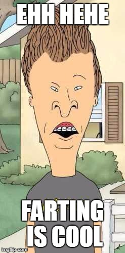 Butthead | EHH HEHE FARTING IS COOL | image tagged in butthead | made w/ Imgflip meme maker