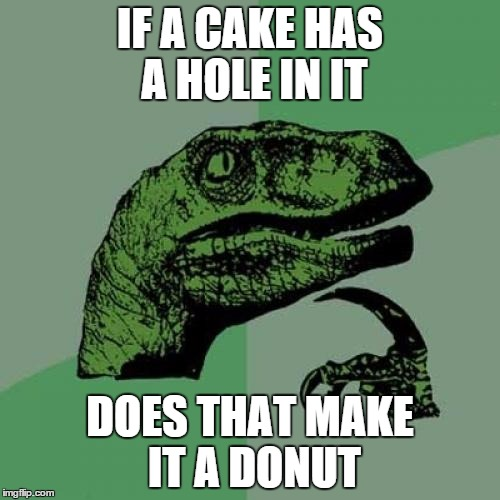 True question | IF A CAKE HAS A HOLE IN IT DOES THAT MAKE IT A DONUT | image tagged in memes,philosoraptor | made w/ Imgflip meme maker