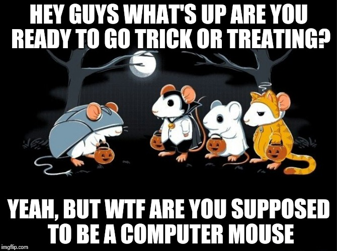 How ironic a mouse going as a computer mouse | HEY GUYS WHAT'S UP ARE YOU READY TO GO TRICK OR TREATING? YEAH, BUT WTF ARE YOU SUPPOSED TO BE A COMPUTER MOUSE | image tagged in funny memes | made w/ Imgflip meme maker