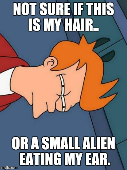 Futurama Fry Meme | NOT SURE IF THIS IS MY HAIR.. OR A SMALL ALIEN EATING MY EAR. | image tagged in memes,futurama fry | made w/ Imgflip meme maker