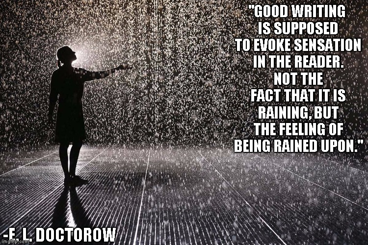 Image result for Good writing is supposed to evoke sensation in the reader. Not the fact that it is raining, but the feeling of being rained upon.
