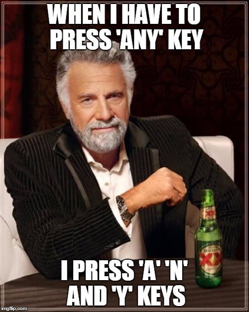 The Most Interesting Man In The World Meme | WHEN I HAVE TO PRESS 'ANY' KEY I PRESS 'A' 'N' AND 'Y' KEYS | image tagged in memes,the most interesting man in the world | made w/ Imgflip meme maker