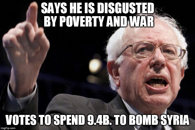 Image result for bernie sanders votes for war