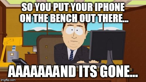 Aaaaand Its Gone Meme | SO YOU PUT YOUR IPHONE ON THE BENCH OUT THERE... AAAAAAAND ITS GONE... | image tagged in memes,aaaaand its gone | made w/ Imgflip meme maker