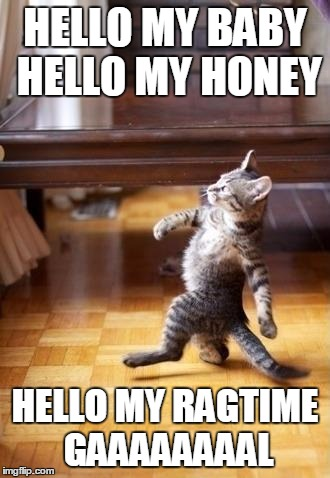 Cool Cat Stroll Meme | HELLO MY BABY HELLO MY HONEY HELLO MY RAGTIME GAAAAAAAAL | image tagged in memes,cool cat stroll | made w/ Imgflip meme maker