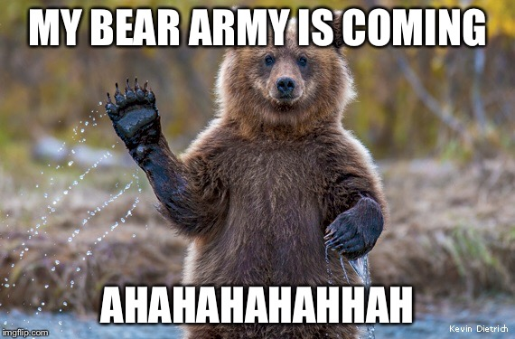Bears | MY BEAR ARMY IS COMING AHAHAHAHAHHAH | image tagged in bears | made w/ Imgflip meme maker