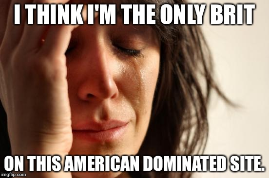 First World Problems | I THINK I'M THE ONLY BRIT ON THIS AMERICAN DOMINATED SITE. | image tagged in memes,first world problems | made w/ Imgflip meme maker