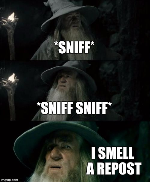Confused Gandalf Meme | *SNIFF* *SNIFF SNIFF* I SMELL A REPOST | image tagged in memes,confused gandalf | made w/ Imgflip meme maker