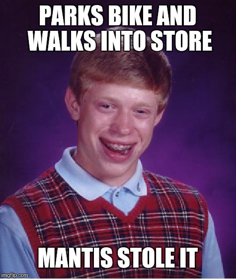 Bad Luck Brian Meme | PARKS BIKE AND WALKS INTO STORE MANTIS STOLE IT | image tagged in memes,bad luck brian | made w/ Imgflip meme maker