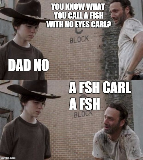 Rick and Carl Meme | YOU KNOW WHAT YOU CALL A FISH WITH NO EYES CARL? DAD NO A FSH CARL A FSH | image tagged in memes,rick and carl | made w/ Imgflip meme maker