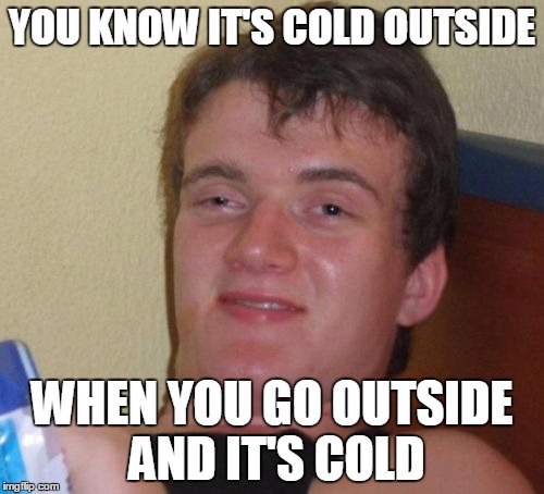 10 Guy Meme | YOU KNOW IT'S COLD OUTSIDE WHEN YOU GO OUTSIDE AND IT'S COLD | image tagged in memes,10 guy | made w/ Imgflip meme maker
