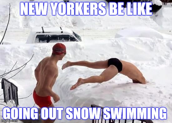 snow swimming | NEW YORKERS BE LIKE GOING OUT SNOW SWIMMING | image tagged in snow swimming | made w/ Imgflip meme maker