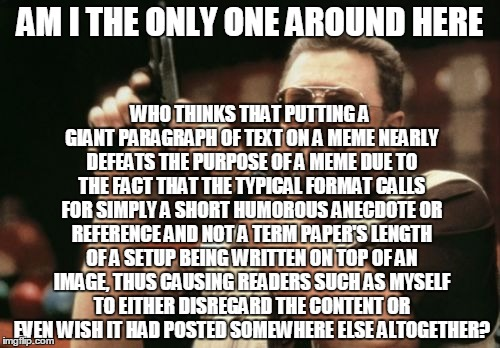 Am I The Only One Around Here Meme | AM I THE ONLY ONE AROUND HERE WHO THINKS THAT PUTTING A GIANT PARAGRAPH OF TEXT ON A MEME NEARLY DEFEATS THE PURPOSE OF A MEME DUE TO THE FA | image tagged in memes,am i the only one around here,AdviceAnimals | made w/ Imgflip meme maker