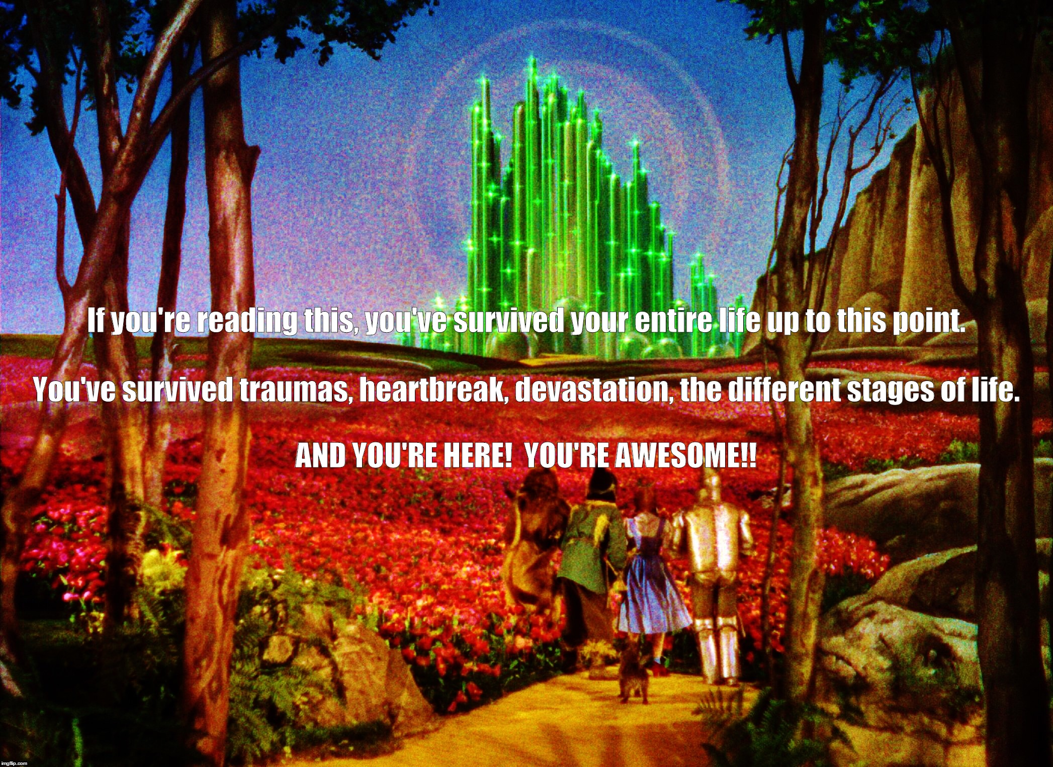 If you're reading this, you've survived your entire life up to this point. AND YOU'RE HERE!  YOU'RE AWESOME!! You've survived traumas, heart | image tagged in wizard of oz,you're awesome,emerald city | made w/ Imgflip meme maker