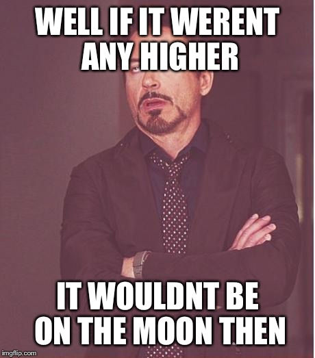 Face You Make Robert Downey Jr Meme | WELL IF IT WERENT ANY HIGHER IT WOULDNT BE ON THE MOON THEN | image tagged in memes,face you make robert downey jr | made w/ Imgflip meme maker