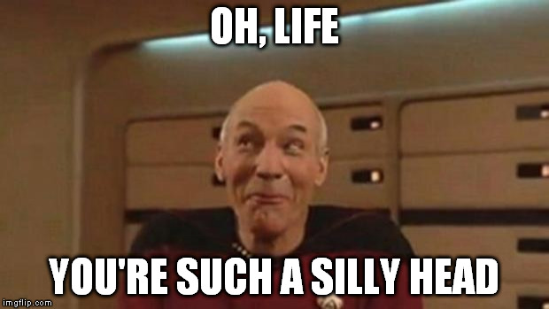Sometimes life likes a good joke | OH, LIFE YOU'RE SUCH A SILLY HEAD | image tagged in picard silly,life,bullshit,drama | made w/ Imgflip meme maker