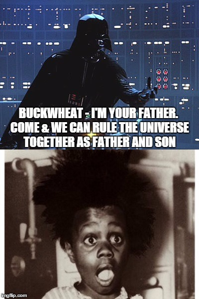 Buckwheat meets his daddy | BUCKWHEAT - I'M YOUR FATHER. COME & WE CAN RULE THE UNIVERSE TOGETHER AS FATHER AND SON | image tagged in funny meme | made w/ Imgflip meme maker