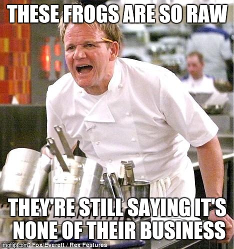 I know it's a repost... | THESE FROGS ARE SO RAW THEY'RE STILL SAYING IT'S NONE OF THEIR BUSINESS | image tagged in memes,but thats none of my business,gordon ramsey,funny | made w/ Imgflip meme maker