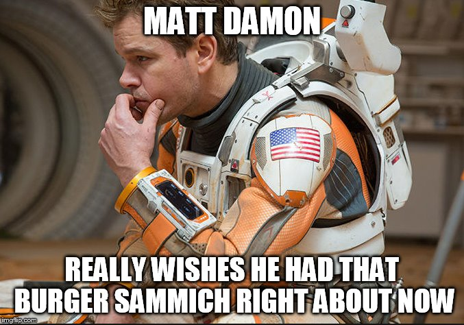 matt damon martian burger | MATT DAMON REALLY WISHES HE HAD THAT BURGER SAMMICH RIGHT ABOUT NOW | image tagged in burger,sandwich,matt damon,martian,good will hunting | made w/ Imgflip meme maker