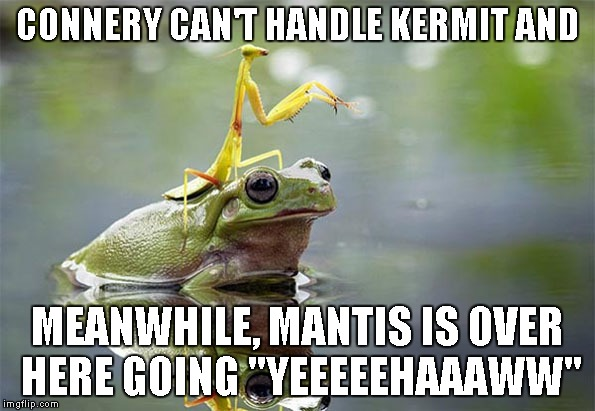 "Bring it on Kermit | CONNERY CAN'T HANDLE KERMIT AND MEANWHILE, MANTIS IS OVER HERE GOING ""YEEEEEHAAAWW"" 