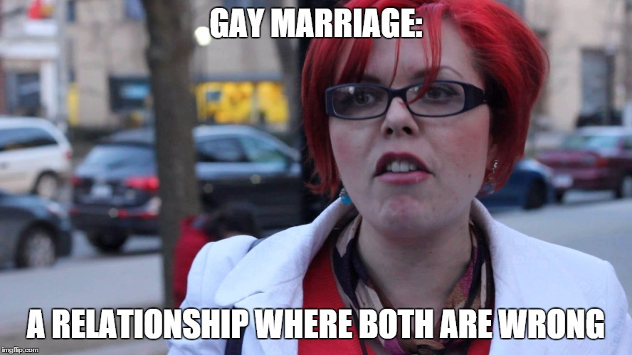 Feminazi | GAY MARRIAGE: A RELATIONSHIP WHERE BOTH ARE WRONG | image tagged in feminazi | made w/ Imgflip meme maker