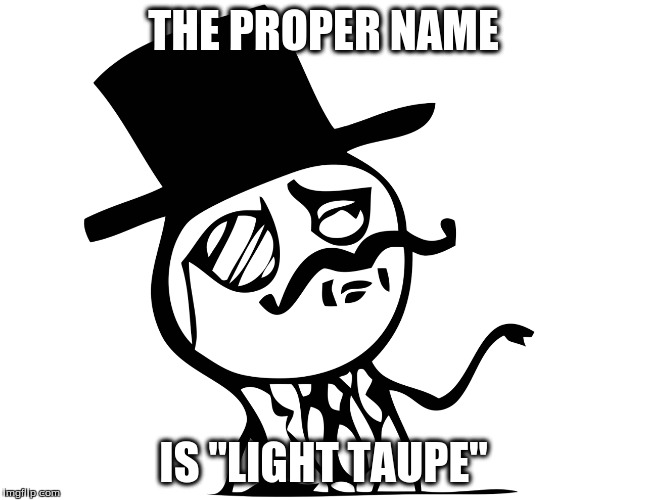 "THE PROPER NAME IS ""LIGHT TAUPE"" 