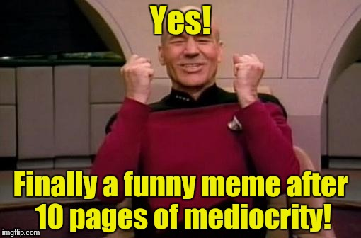 Picard yes | Yes! Finally a funny meme after 10 pages of mediocrity! | image tagged in picard yes | made w/ Imgflip meme maker