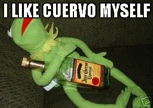 Drunk Kermit | I LIKE CUERVO MYSELF | image tagged in drunk kermit | made w/ Imgflip meme maker